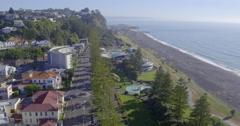 Aerial of Marine Parade, Napier, Hawkes Bay, New Zealand Stock Footage