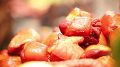 Veprovo koleno - traditional Czech dish roasts on the Fire: Czech national dish Stock Footage