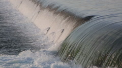 Small waterfall outside of Canadian Power Plant at Niagara Falls Stock Footage