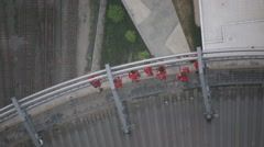 Aerial view on people doing the edge walk at the CN Tower in Toronto Stock Footage