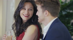 4K Close up portrait young couple in love, drinking champagne & chatting - stock footage