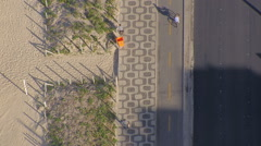 Flying directly above Ipanema Beach iconic sidewalk with palms, Rio De Janeiro - stock footage