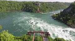 Niagara Falls Whirlpool cable aero car ride Stock Footage
