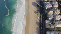 Flying directly above Ipanema Beach mosaic with ocean, Rio De Janeiro, Brazil - stock footage