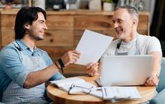 Relationships between father and son - stock photo