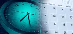 Clock face and calendars composite Stock Photos