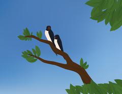 Two barn swallows Stock Illustration