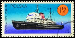 "Polish icebreaker ""Perkun"" on postage stamp Stock Photos"