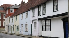 Traditional Medieval Cottages in the English city of Salisbury Stock Footage