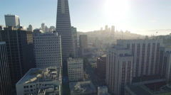 4K Aerial view san francisco downtown going up transamerica building Stock Footage