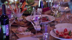 fine dining in Restaurant - stock footage