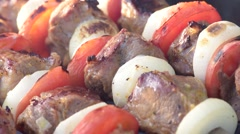 Barbecue with delicious grilled meat on grill. Pork meat pieces being fried Stock Footage