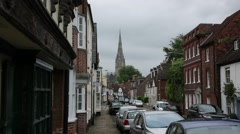 Salisbury: English Medieval town with Cathedral Spire - stock footage