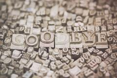 Close up of typeset letters with the word Goodbye Stock Photos
