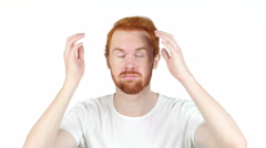 Young man frustrated and angry , online loss , portrait white background Stock Footage