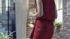 4K Fashionable young couple relaxing & drinking champagne in New York apartment Stock Footage