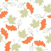 Seamless pattern with hand drawn leaves Stock Illustration