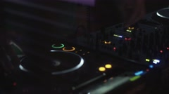 Dj spinning at turntable on party in nightclub. Performance. Equipment. Mixing - stock footage