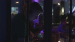 Dj spinning at turntable on party in nightclub. Performance. Saxophonist - stock footage