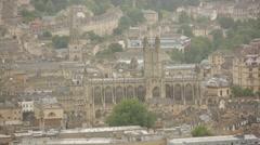 City of Bath establishing long shot pan, England Stock Footage