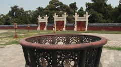 View to the old gate in the temple of Heaven in Beijing, China. Stock Footage