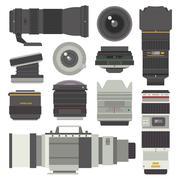 Photo optic lenses vector set - stock illustration