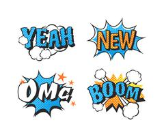 Popart comic speech bubble boom effects vector - stock illustration