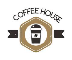 Coffee shop sign cafe symbol badge vector Stock Illustration