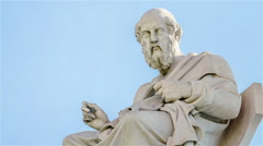 Closeup Marble Statue of the Ancient Greek Philosopher Plato in Motion - stock footage