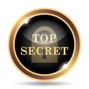 Top secret icon. Internet button on white background.. - stock illustration