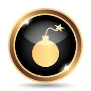 Bomb icon. Internet button on white background.. - stock illustration