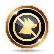 Forbidden dogs icon. Internet button on white background.. - stock illustration