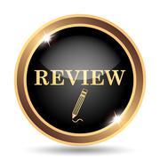 Review icon. Internet button on white background.. - stock illustration