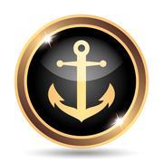 Anchor icon. Internet button on white background.. - stock illustration