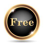 Free icon. Internet button on white background.. - stock illustration