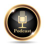 Podcast icon. Internet button on white background.. - stock illustration