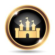 Castle icon. Internet button on white background.. - stock illustration