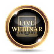 Live webinar icon. Internet button on white background.. - stock illustration