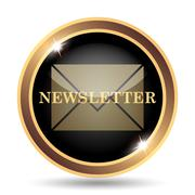Newsletter icon. Internet button on white background.. - stock illustration