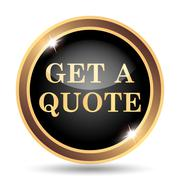 Get a quote icon. Internet button on white background.. - stock illustration