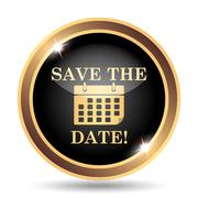 Save the date icon. Internet button on white background.. Stock Illustration