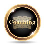 Coaching icon. Internet button on white background.. - stock illustration