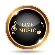 Live music icon. Internet button on white background.. - stock illustration