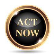 Act now icon. Internet button on white background.. - stock illustration