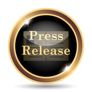 Press release icon. Internet button on white background.. - stock illustration