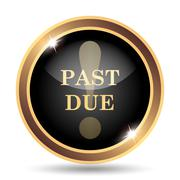 Past due icon. Internet button on white background.. - stock illustration