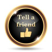 Tell a friend icon. Internet button on white background.. - stock illustration