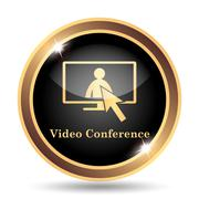 Video conference, online meeting icon. Internet button on white background.. - stock illustration