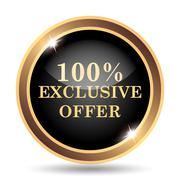 100% exclusive offer icon. Internet button on white background.. - stock illustration