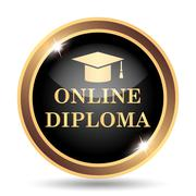 Online diploma icon. Internet button on white background.. - stock illustration